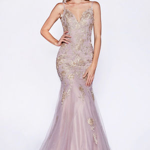 Mauve V-Neckline Bridesmaid Long Dress